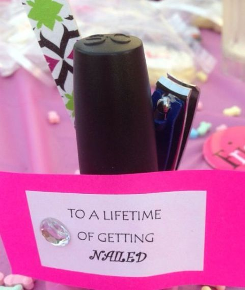 Nail polish & fingernail clippers or a nail file. Funny bachelorette party or lingerie shower favor