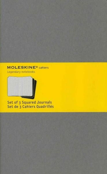 The Moleskine Cahiers are journals with a flexible heavy-duty writable cardboard cover in pebble grey with visible stitching on the spine. The last 16 sheets are detachable and there is a pocket for l