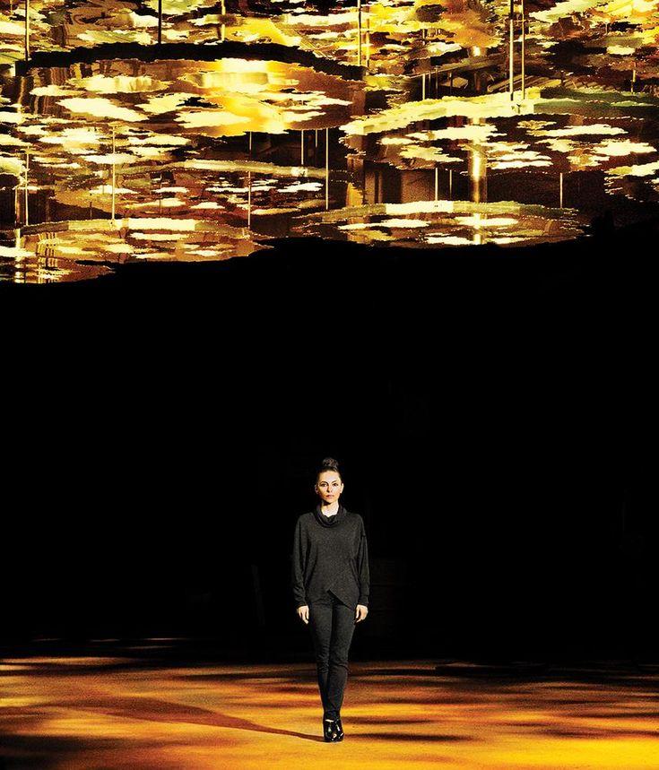 Teresita Fernandez under part of her 'Fata Morgana' installation for Madison Square Park.