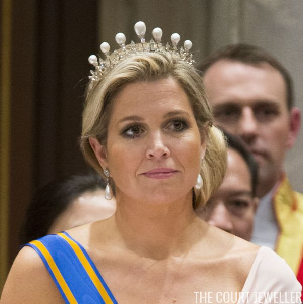 The Antique Pearl Tiara (Photo: Michel Porro/Getty Images)      Queen Maxima of the Netherlands wears the Antique Pearl Tiara  at a state ...