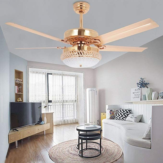Tropicalfan Metal Led Ceiling Fan With Remote Control 1 Glass
