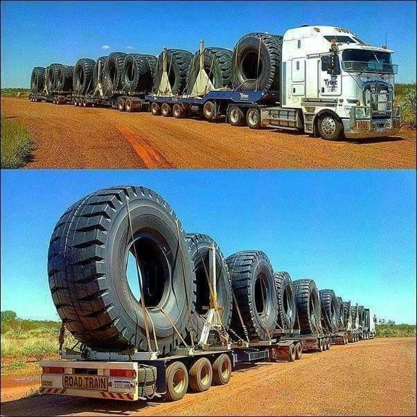 Mining tires galore, Road train again - We repair used trailers in any condition. Contact USTrailer and let us sell your trailer. Click to http://USTrailer.com or Call 816-795-8484