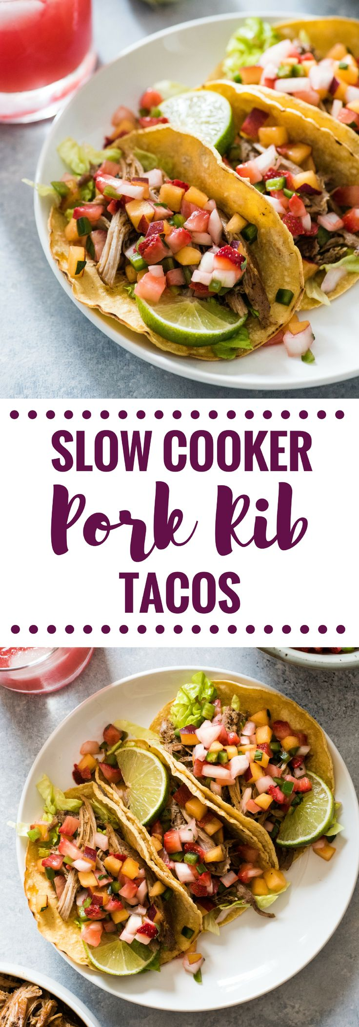 These Slow Cooker Pork Rib Tacos are seasoned with Mexican spices and cooked in orange juice for a delicious and easy weeknight meal! (gluten free)