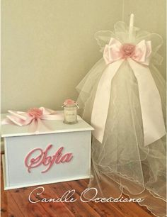 Lambatha Greek Orthodox Christening Candle with tulle and matching wooden box