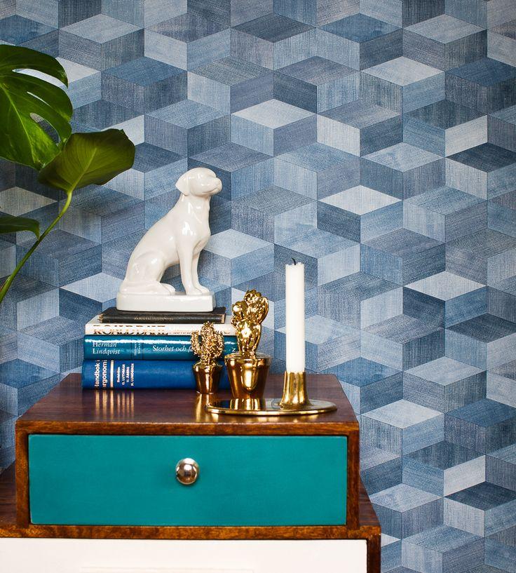 Contemporary Geometrics | Jeans Cube Wallpaper by Eco | Jane Clayton