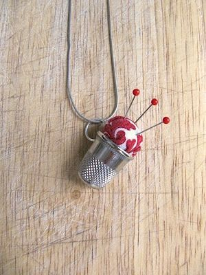 Happy Tool Time everyone! I know the title of this project is a mouthful...Thimble Pincushion Necklace. I couldn't shorten it or describe it...