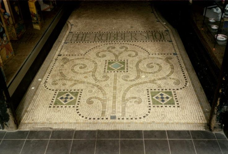 Mosaic Floor at the entrance to the Rubber Shop!