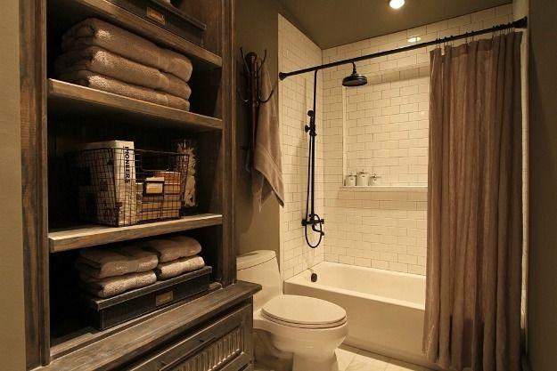 like a restoration hardware catalog burlap shower black shower