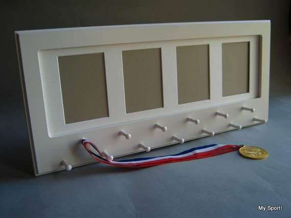 White Sport Medal display with photo frame. by StorageAndDisplay, $65.00