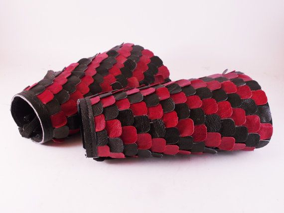 Handmade pair of leather bracers with black and red by LEATHERELY