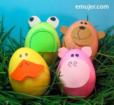 Huevos de pascua de animales con carton , actividades pascua niños