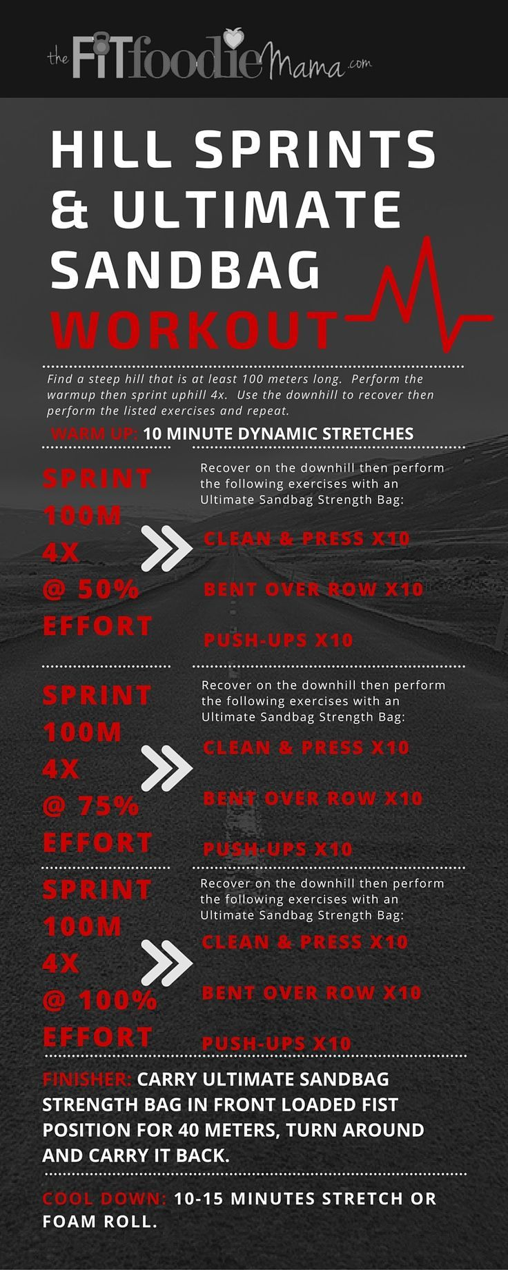 Hill Sprints & Ultimate Sandbag Workout for Runners. Build strength and conditioning with this hill sprint workout that incorporates a mix of sprint intervals running up the hill and strength exercises with the sandbag. It will help to improve both speed and endurance. TheFitFoodieMama.com