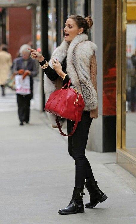 Olivia Palermo. short black boots with black leggings