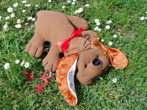 BROWN PUPPY, stuffed dog brown lying, big ears basset hound brown, stuffed dog chocolate brown, vintage dog new HANDMADE, soft toy dachshund