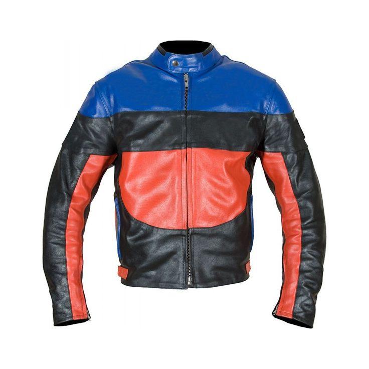 Black Red Blue Biker Leather Jacket