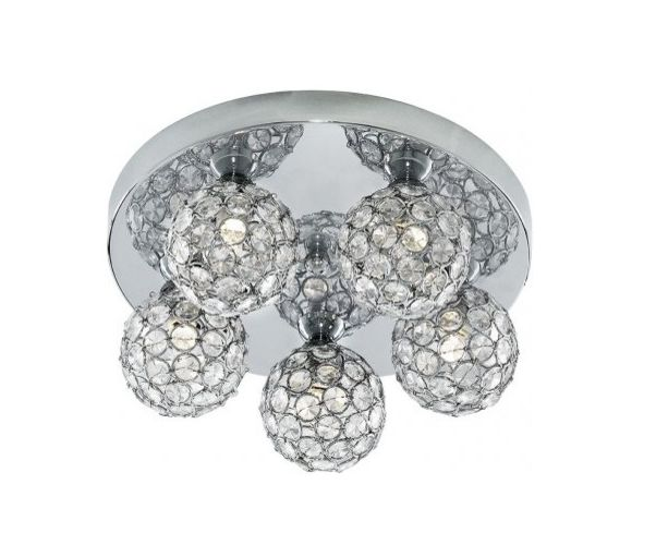Chrome 5 light flush from searchlight electrical with acrylic beads the bellis ii design is