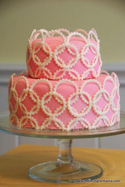 Pink Geometric Baby Shower Cake - Meaningfulmama.com