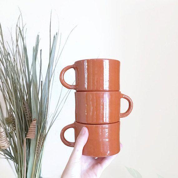 Terra Cotta Soup Mugs / Striped Bowls /  by VintageGirlHome