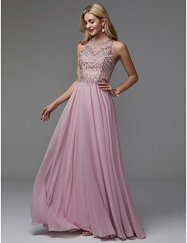 efa4f77457a Sparkle at your next special event! It s an A-line high-neck dress with a  jeweled bodice. The chiffon gown moves beautifully!