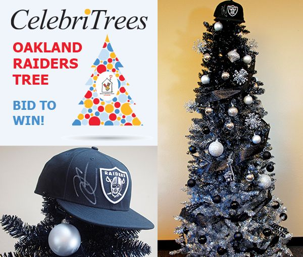 Bid now on the Oakland Raiders Tree at http://trees.myab.co/   Silver and black are the new green this holiday season for The Oakland Raiders fans. This 7' silver and black ombré tree is a fan fave and is loaded with loads of signed swag from Raiders Quarterback Derek Carr. Autographed gifts include: footballs, hats, mini helmets, and a shirt.