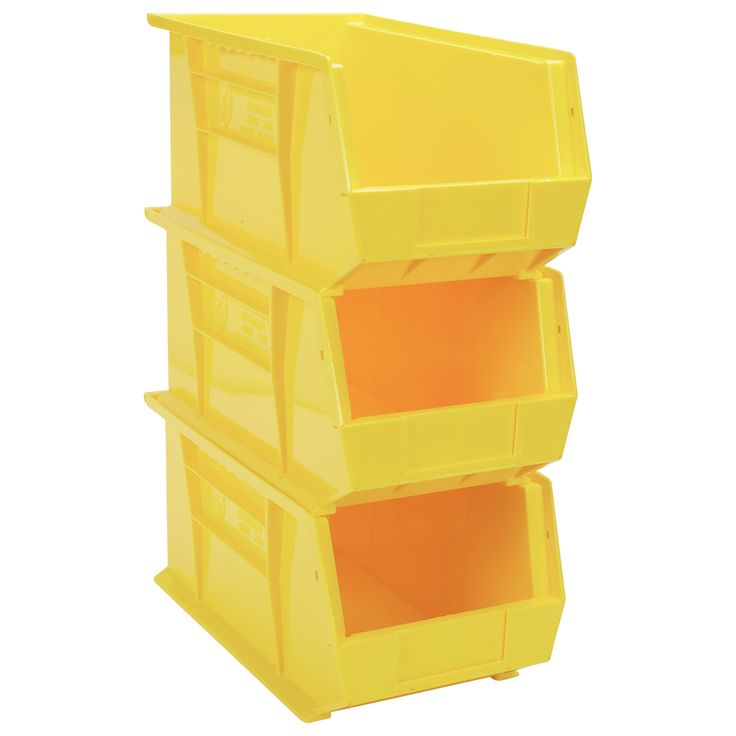 quantum heavy duty storage bins 3 pk yellow model qus840yl vintage stackable metal - Metal Storage Bins