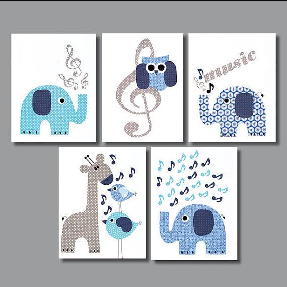 Musical Elephant Owl Nursery Artwork Print by 3000yardsofthread, $70.00