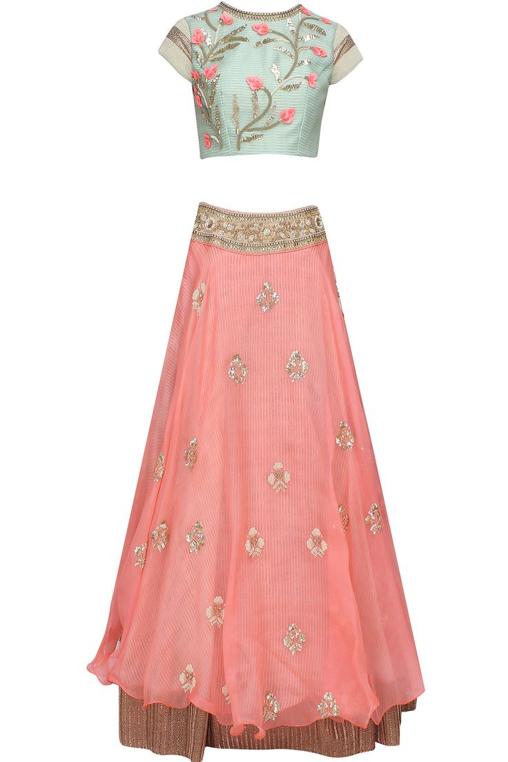 "Peach ""Pastel Perfection"" 3D floral embroidered lehenga and peach blouse set available only at Pernia's Pop Up Shop."