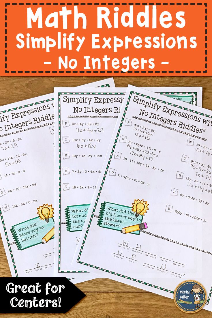 Simplify Expressions 1 Math with Riddles | TPT Store Misty