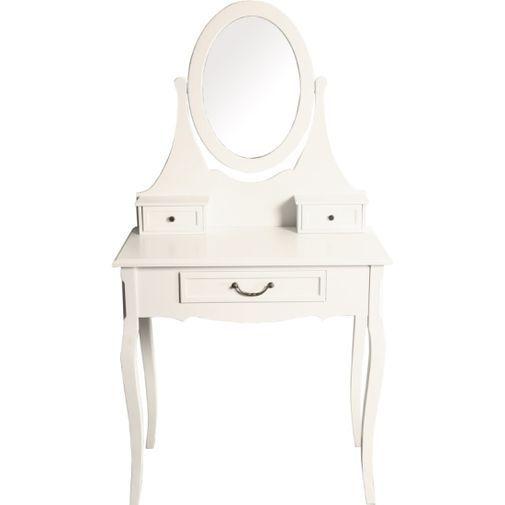 Gammaldags sminkbord med vinkelbar spegel samt 3 lådor för småförvaring. Tänk på att skruva fast spe...