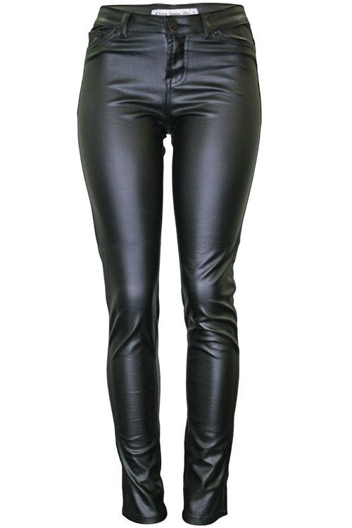 Super Chic 5-Pocket-Styled Skinny Motorcycle Pant.  These Faux-Leather Pants are Made of Ponte Fabric, a Rayon/Polyester/Spandex Blend Created for Movement and