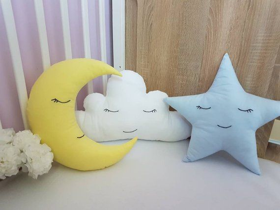 Bed Bedroom Cotton Cloud Moon Cushion Pillow Soft Baby Nursery Kids Gift 3-Color
