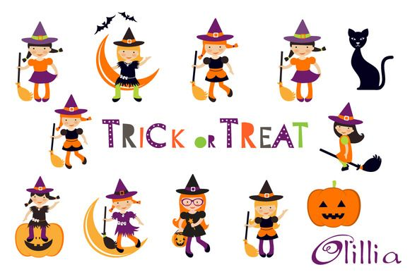 Trick or treat witches by Olillia on Creative Market