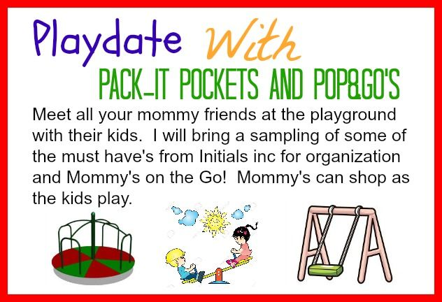 Host a casual Initials inc party at the playground with all of your mommy friends and their kids. I will bring a sampling of must have's for organization and moms on the go! Margie McClurken  www.myinitials-inc.com/margiesbags