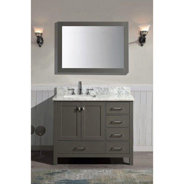 Bella Grey 42-inch x 34.5-inch x 22-inch Single Bathroom Vanity Set with Mirror