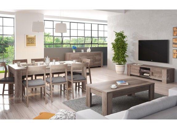 en praktisch vormgegeven set meubels bestaande uit een tv-meubel ...