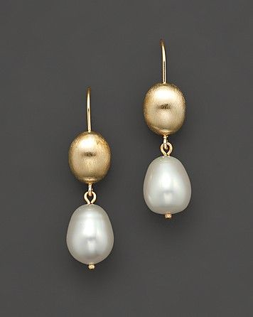 14 Kt. Yellow Gold Bead And Freshwater Pearl Drop Earrings | Bloomingdale's