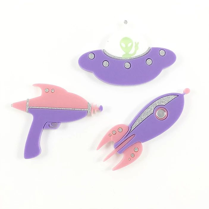 Deer Arrow Purple Space Brooches I Have the Rocket