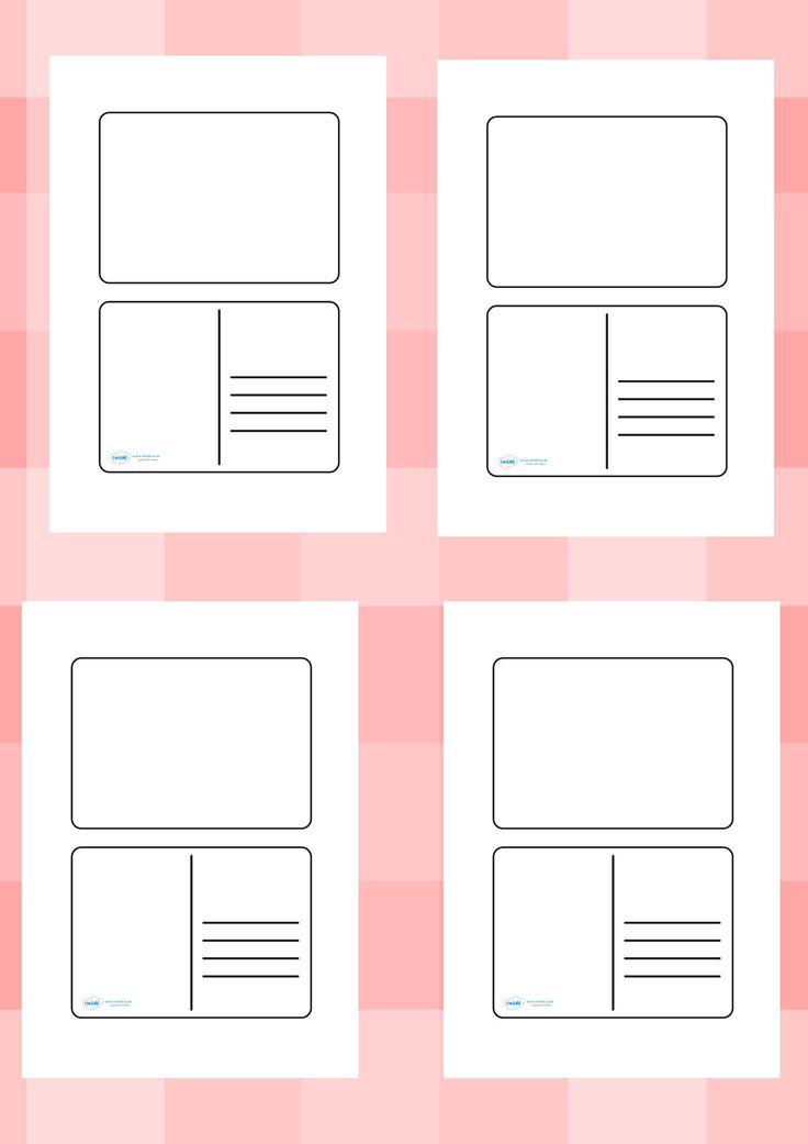 Twinkl Resources u003eu003e Blank Postcard Templates u003eu003e Printable - printable postcard template free
