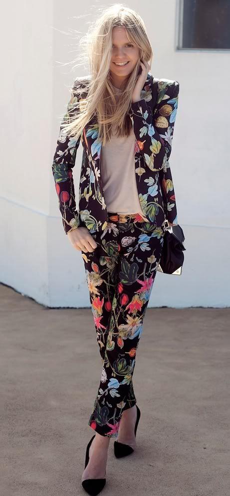 Floral #Print Jacket & #Pants Suit