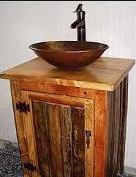 rustic sink vessel vanity - Buscar con Google