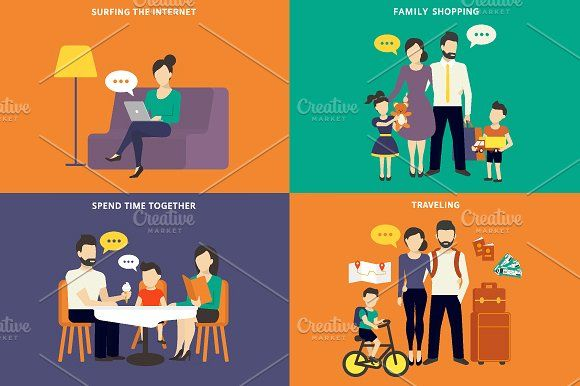 Family flat illustrations set #4 by Julia Tim on @creativemarket