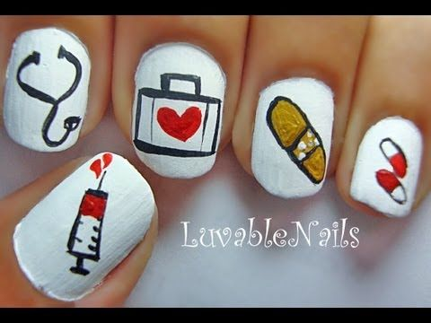34 best nurse nail design medical nail art images on pinterest doctor nail art video graduation prinsesfo Image collections
