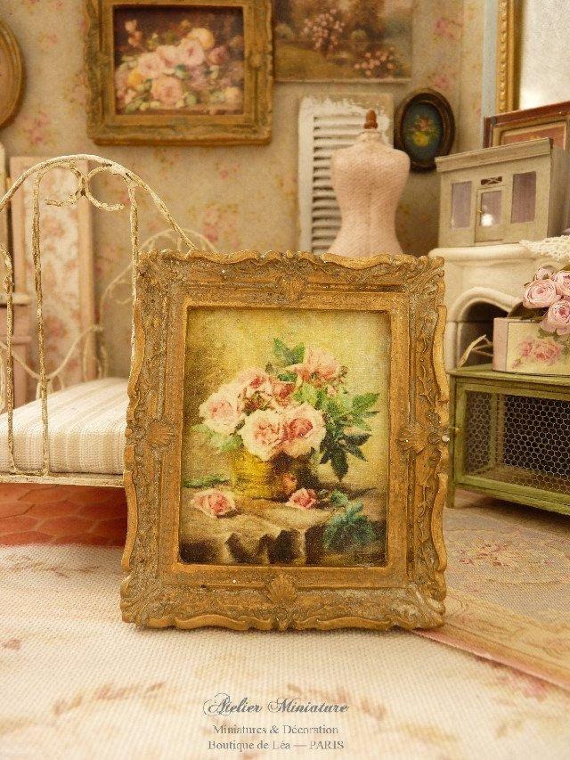 Cadre miniature baroque, Or vieilli, Peinture XIXe, Roses anciennes, Accessoire…