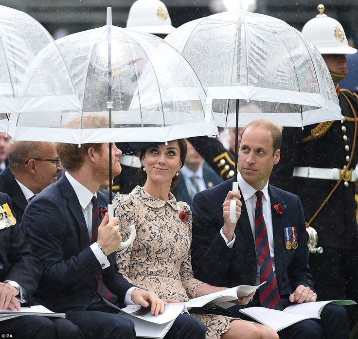 Prince William and Prince Harry worked together to keep the Duchess of Cambridge dry after it started raining at the outdoor service