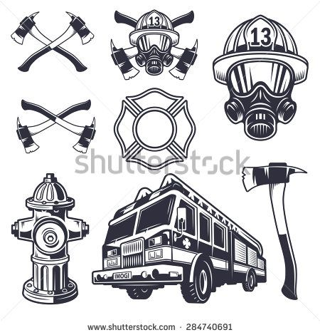 Set of designed firefighter elements. Monochrome style - stock vector