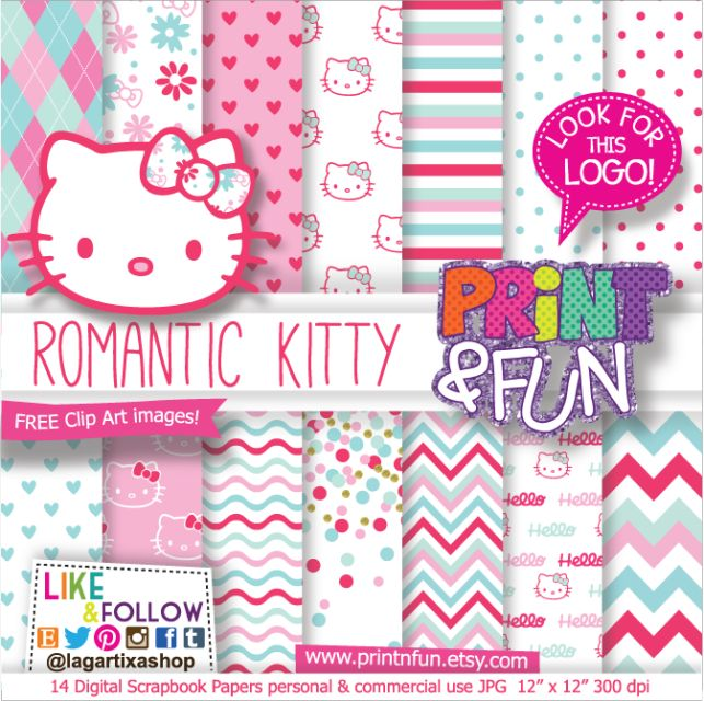 Hello Kitty Digital Paper Patterns and FREE Clip art