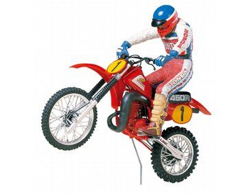 The Tamiya Honda Motocross Bike With Rider Model Kit From Plastic Motorcycle Kits Range Accurately Recreates Real Life Complete