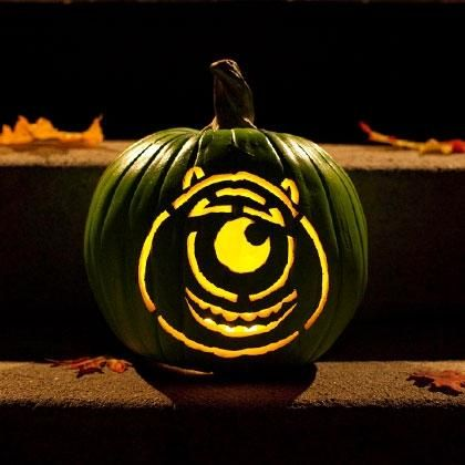 Mike wazowski pumpkin carving template disney holidays for Mike wazowski pumpkin template