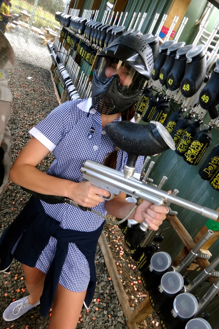 Paintballing in a dress... it's getting serious now!