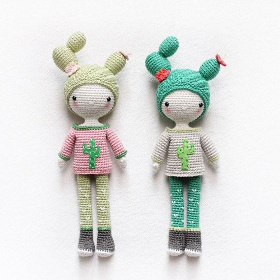 Cactus Girl Cactella  amigurumi doll  English pattern  от kikalite